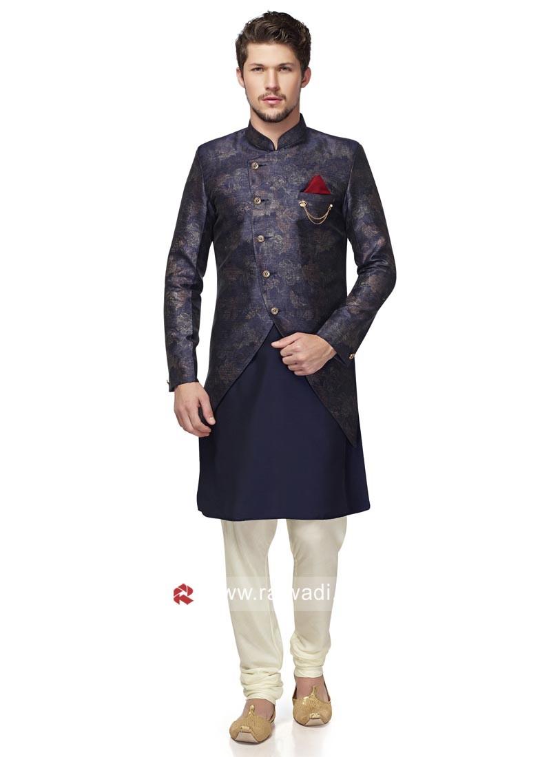 Designer Blue Color Indo Western For Wedding