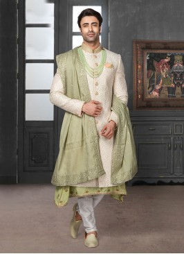 Sequins Work Sherwani For Groom