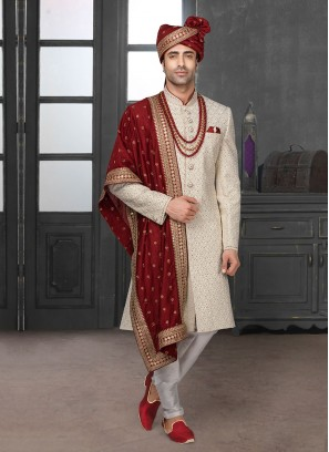 Sequins Work Sherwani In Off-White Color