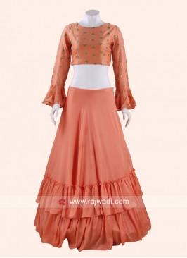 Sequins Work Silk Lehenga Choli in Peach