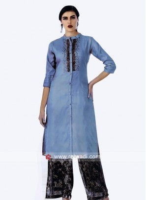Sequins Work Stitched Kurti with Buttons