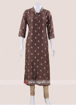 Sequins Work Tunic in Brown