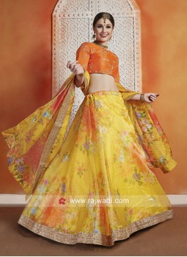 Sequins Work Unstitched Printed Lehenga Set