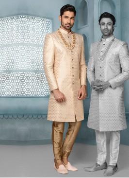 Sequins Work Wedding Sherwani