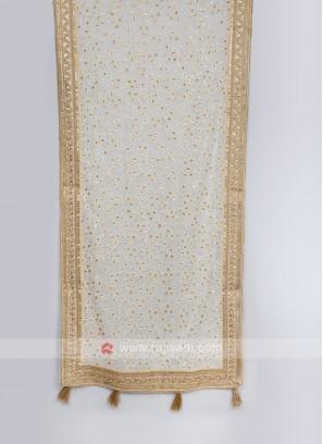 Sequins Work White Dupatta For Sherwani