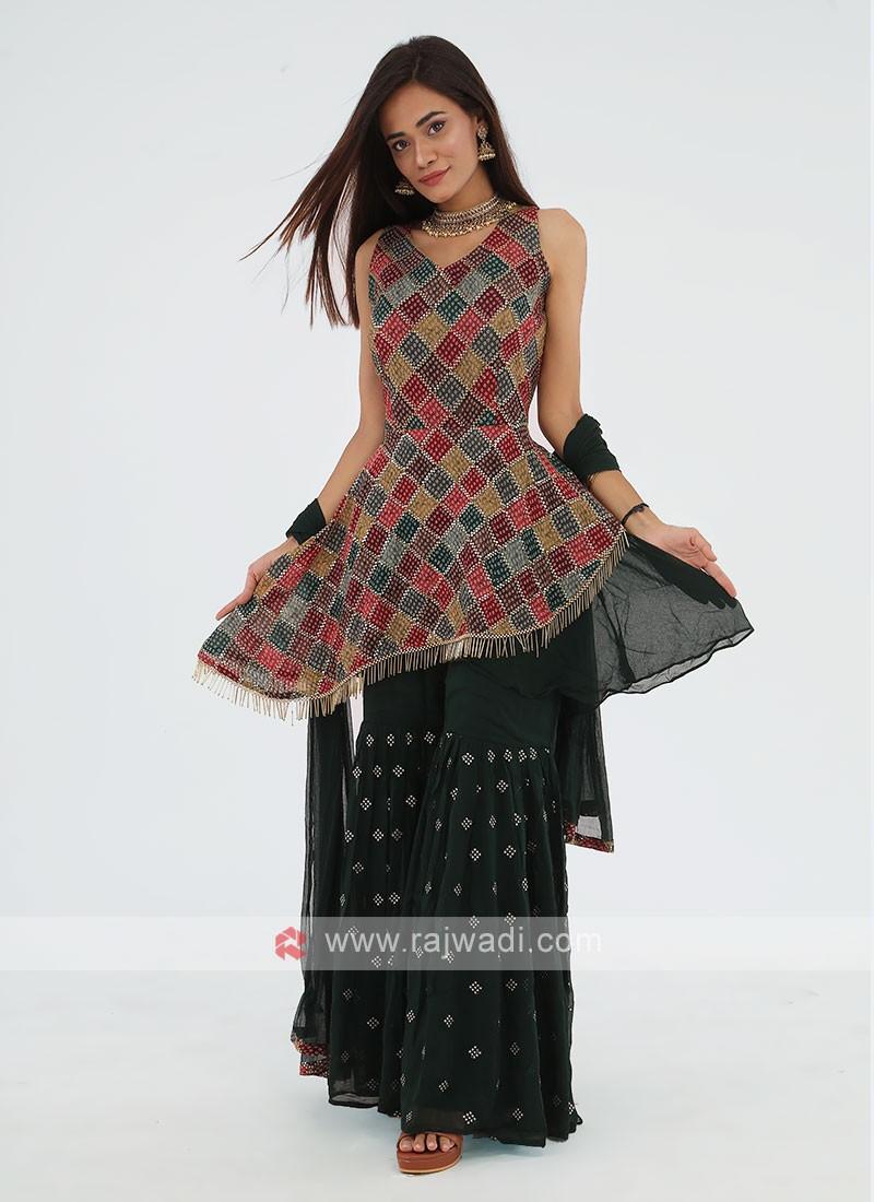 Sequins Worked Gharara Suit