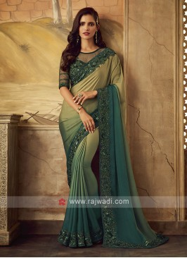 Shaded Art Satin Silk Saree with Border