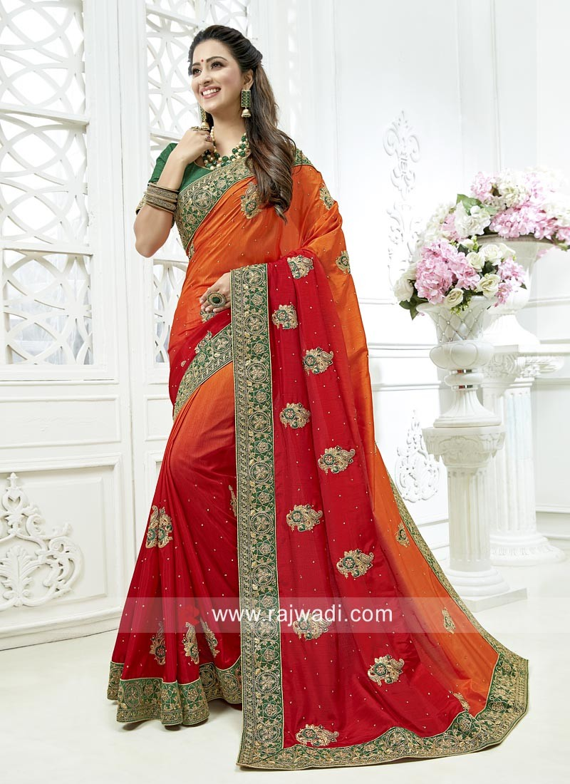 Shaded Art Silk Embroidered Saree