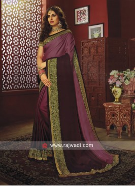 Shaded Border Work Saree