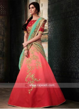 Shaded Butter Silk Lehenga Set