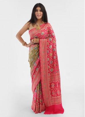 Shaded Chiffon Bandhani Saree