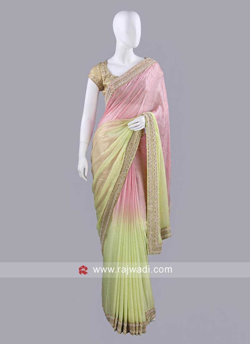 Shaded Chiffon Silk Sari
