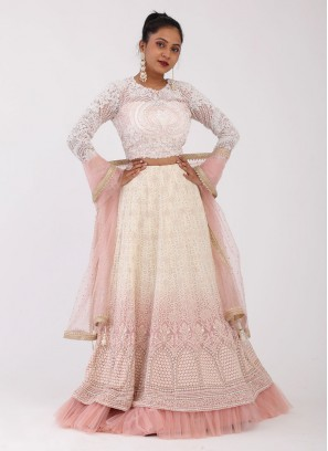 Shaded Choli Suit In Cream And Peach Color