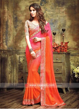 Shaded Designer Sari with Net Blouse