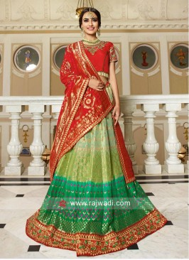 Shaded Embroidered Lehenga Set