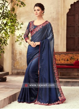 Shaded Embroidered Saree with Border