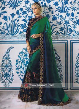 Shaded Embroidery Saree with Cut Work Border