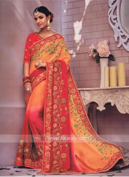 Shaded Floral Embroidered Saree