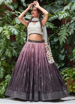 Shaded Georgette Choli Suit With Dupatta