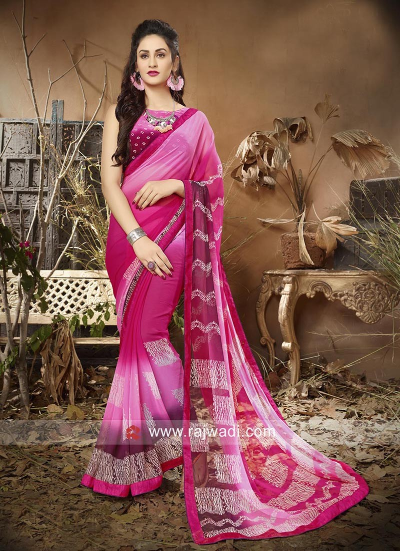 Shaded Georgette Saree with Lace Border