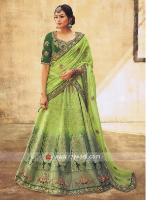 Shaded Green Brocade Lehenga