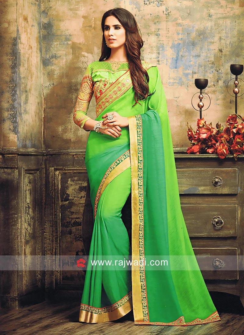 Shaded Green Embellished Sari