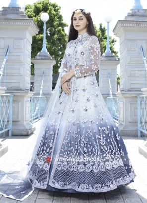 Shaded Lehenga Choli with Net Embroidered Jacket