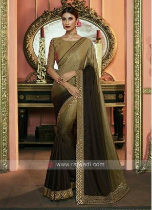 Shaded Mehndi Green Color Dola Silk Saree