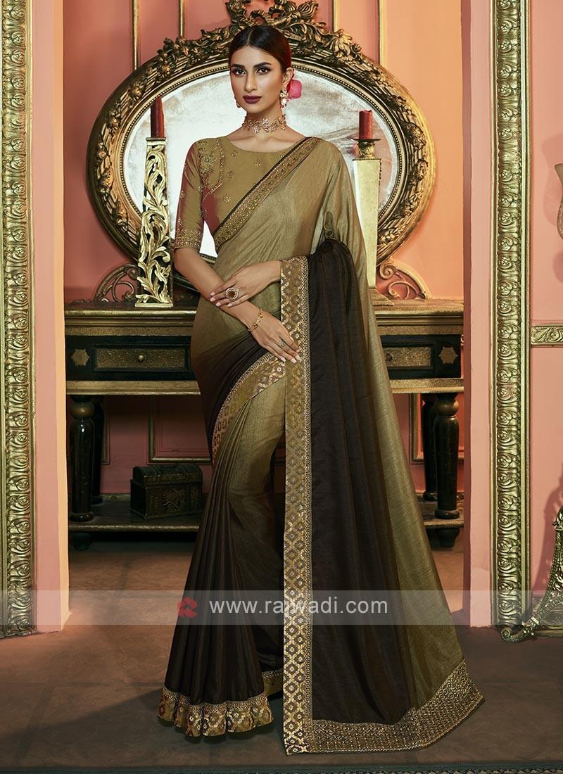Shaded Mehndi Green Color Dola Silk Saree