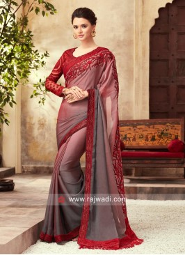 Shaded Party Wear Saree with Border