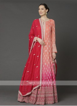 Shaded Peach And Red Anarkali Suit