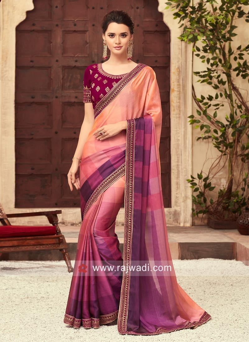 Shaded Saree with Embroidered Blouse