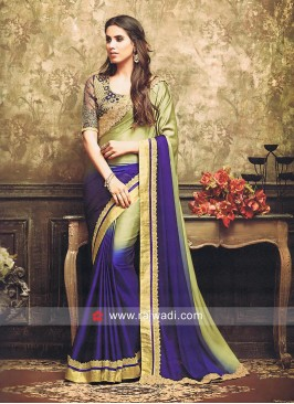 Shaded Sari with Embroidered Blouse Piece