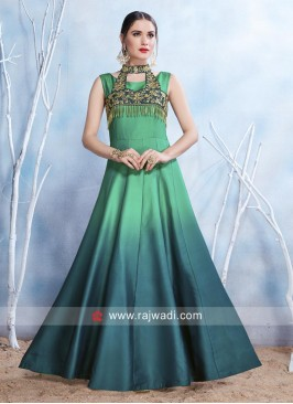 Shaded Satin Floor Length Gown