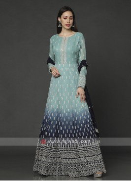 Shaded Sky And Navy Blue Anarkali Suit