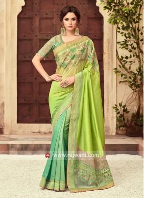 Shaded Wedding Art Silk Saree