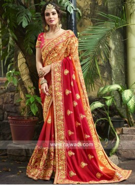 Shaded Wedding Saree with Blouse Piece