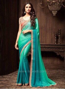 Shaded Wedding Saree with Net Blouse