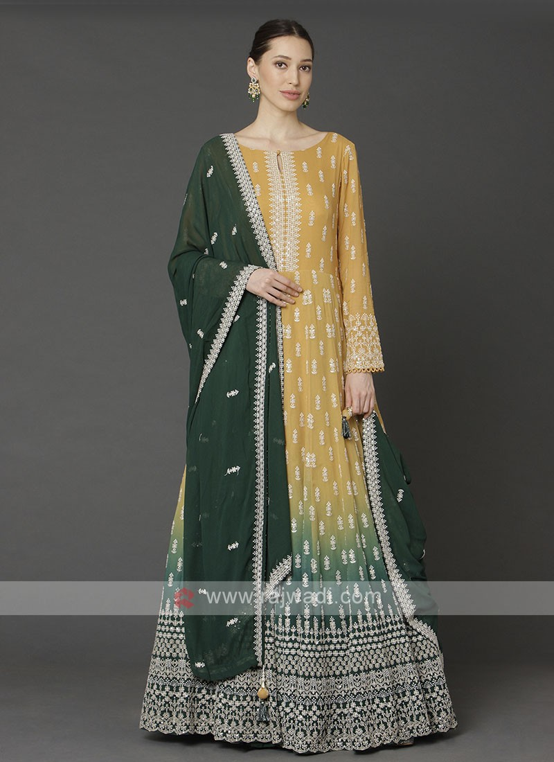 Shaded Yellow And Green Anarkali Suit