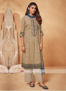 Shagufta Beige And Blue Salwar Suit