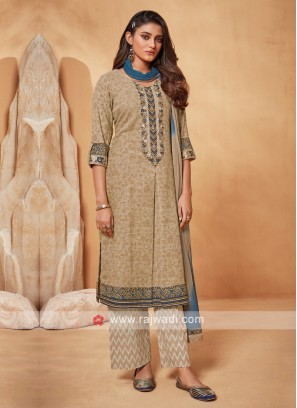 Shagufta Beige And Blue Salwar Suit