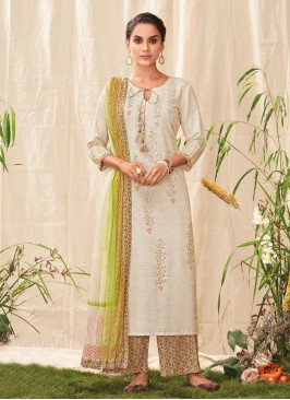 Shagufta Beige Color Palazzo Suit