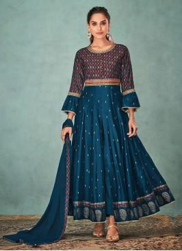 Shagufta Blue Color Anarkali Suit