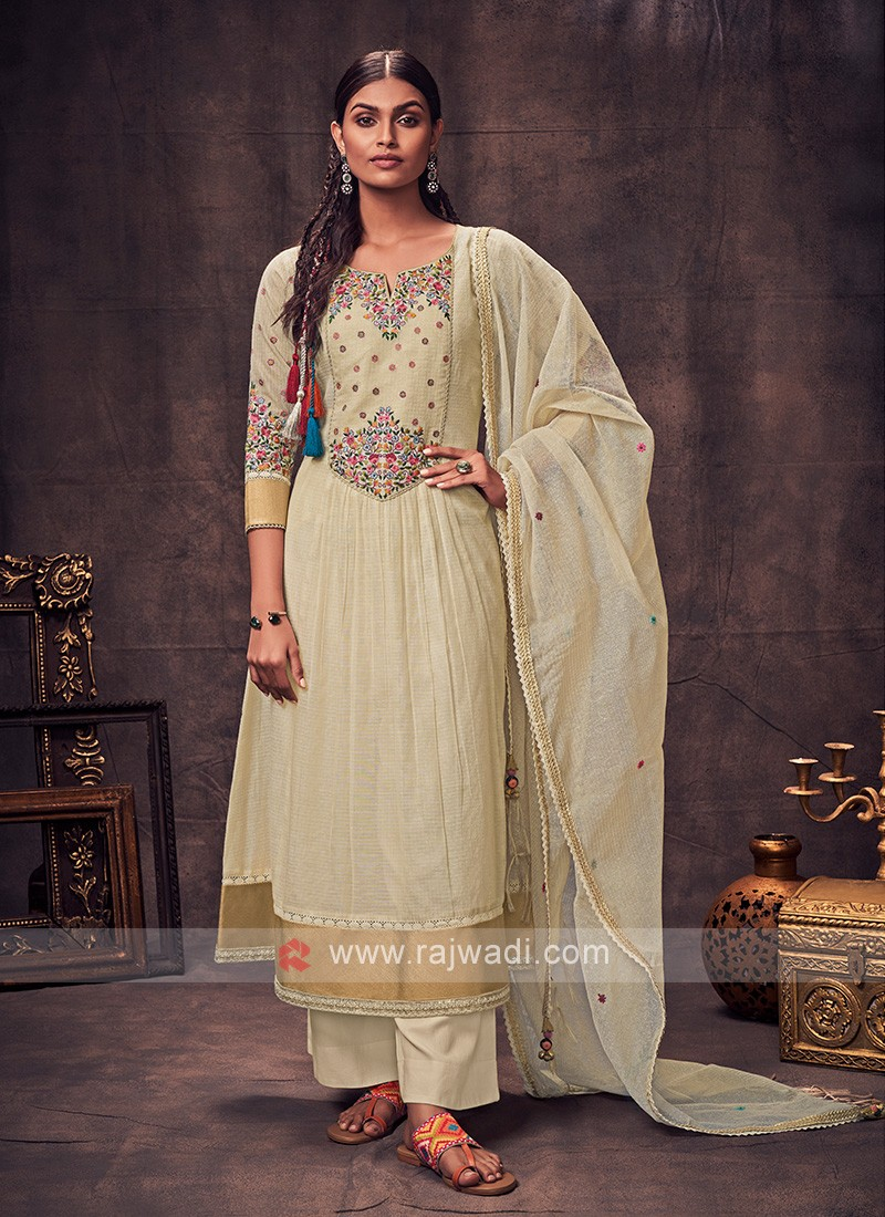 Shagufta Cream Color Anarkali Suit