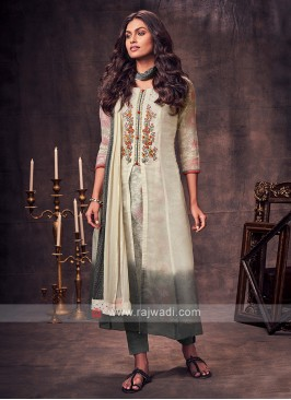 Shagufta Cream & Grey Shaded Salwar Suit