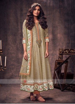 Shagufta Cream & Peach Color Anarkali Suit