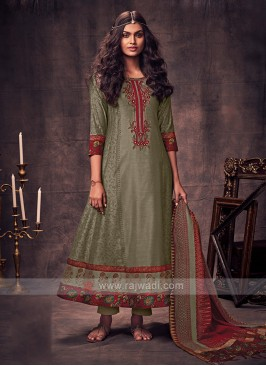 Shagufta Dark Beige Color Anarkali Suit