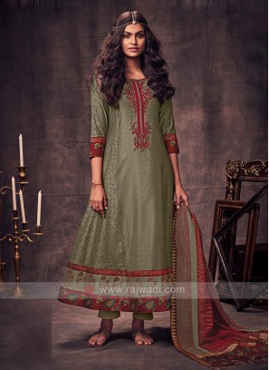 Shagufta Dark Beige Color Anarkali Suit