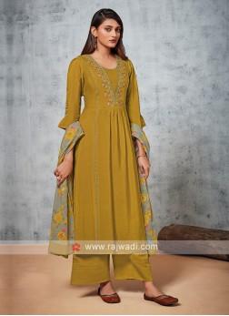Shagufta Golden Color Palazzo Suit