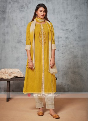 Shagufta Golden Yellow And Cream Pant Suit